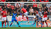 Rotherham United's Freddie Ladapo, centre, appears to block a header, by his team-mate Kyle Vassell, left, with his hand<br /> <br /> Photographer Chris Vaughan/CameraSport<br /> <br /> The EFL Sky Bet Championship - Rotherham United v Lincoln City - Saturday 10th August 2019 - New York Stadium - Rotherham<br /> <br /> World Copyright © 2019 CameraSport. All rights reserved. 43 Linden Ave. Countesthorpe. Leicester. England. LE8 5PG - Tel: +44 (0) 116 277 4147 - admin@camerasport.com - www.camerasport.com