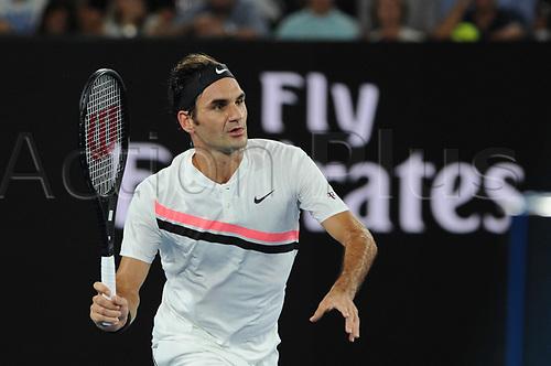 20th January 2018, Melbourne Centre, Melbourne, Australia; Australian Open Tennis;  Melbourne centre - Flinders Park stade - Roger Federer (sui)