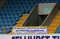 The Association of Millwall Supporters make a statement by displaying a protest banner on 'The Docker's Stand' with the words 'We support Millwall's Fight against the Lewisham4' during Millwall vs Preston North End, Sky Bet EFL Championship Football at The Den on 13th January 2018