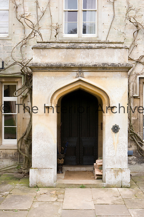 Front exterior door to country manor house