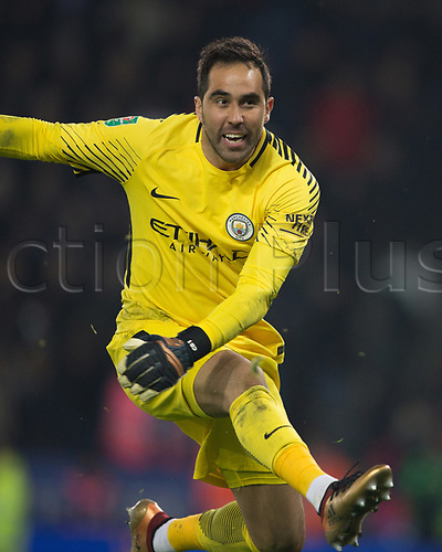 19th December 2017, King Power Stadium, Leicester, England; Carabao Cup quarter-final, Leicester City versus Manchester City; Claudio Bravo of Manchester City kicks the ball into the crowd as City win on penalty's