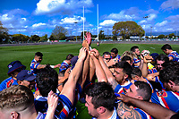Horowhenua Kapiti players huddle after winning the 2018 Heartland Championship Lochore Cup rugby semifinal between Horowhenua Kapiti and Mid-Canterbury at Levin Domain in Levin, New Zealand on Saturday, 20 October 2018. Photo: Dave Lintott / lintottphoto.co.nz