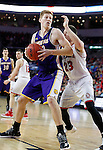SIOUX FALLS, SD: MARCH 4: Brandon Gilbeck #52 of Western Illinois spins on Tyler Flack #23 of South Dakota  on March 4, 2017 during the Summit League Basketball Championship at the Denny Sanford Premier Center in Sioux Falls, SD. (Photo by Dick Carlson/Inertia)