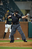 Home plate umpire Jennifer Pawol calls a batter out on strikes during the South Atlantic League game between the Hickory Crawdads and the Ocelotes de Greensboro at First National Bank Field on June 11, 2019 in Greensboro, North Carolina. The Crawdads defeated the Ocelotes 2-1. (Brian Westerholt/Four Seam Images)