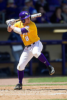 LSU Tigers first baseman Mason Katz #8 at bat against the Auburn Tigers in the NCAA baseball game on March 24, 2013 at Alex Box Stadium in Baton Rouge, Louisiana. LSU defeated Auburn 5-1. (Andrew Woolley/Four Seam Images).