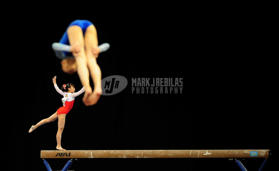 Mar 29, 2008; San Jose, CA, USA; Nanaho Hidaka (JPN) performs on the beam during the womens gymnastics all around final in the Pacific Rim Championships at the Event Center Arena. Mandatory Credit: Mark J. Rebilas-