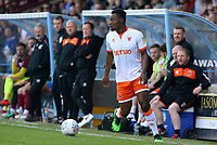 Blackpool's Marc Bola in action<br /> <br /> Photographer David Shipman/CameraSport<br /> <br /> The EFL Sky Bet League One - Scunthorpe United v Blackpool - Friday 19th April 2019 - Glanford Park - Scunthorpe<br /> <br /> World Copyright © 2019 CameraSport. All rights reserved. 43 Linden Ave. Countesthorpe. Leicester. England. LE8 5PG - Tel: +44 (0) 116 277 4147 - admin@camerasport.com - www.camerasport.com