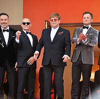 "CANNES, FRANCE. May 16, 2019: David Furnish, Bernie Taupin, Sir Elton John & Taron Egerton at the gala premiere for ""Rocketman"" at the Festival de Cannes.<br /> Picture: Paul Smith / Featureflash"