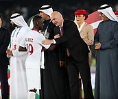 February 1st 2019; Adu Dhabi, United Arab Emirates; Asian Cup football final, Japan versus Qatar;  President of FIFA Gianni Infantino congratualtes Almoez Ali of Qatar after the final match between Japan and Qatar
