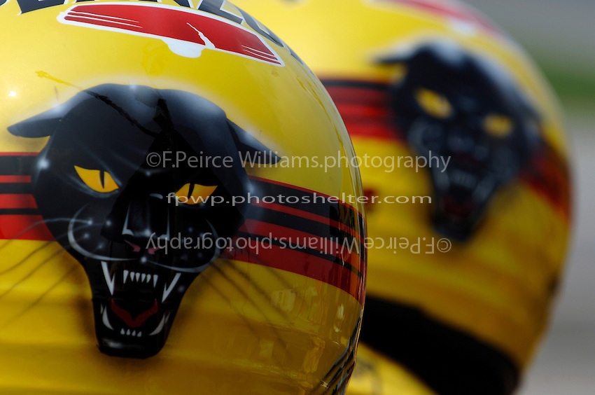 11 September, 2005, Joliet,IL,USA<br /> Panther (Racing) Pit Crew in their helmets.<br /> Copyright&copy;F.Peirce Williams 2005