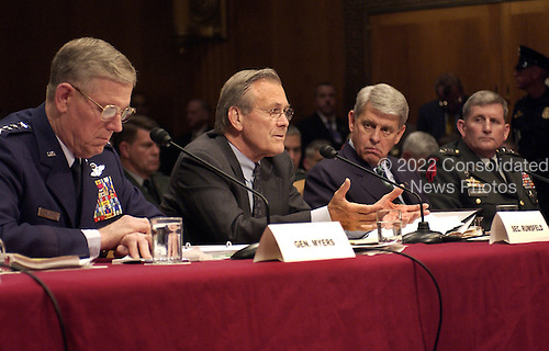 United States Secretary of Defense Donald H. Rumsfeld testifies before the United States Senate Armed Services Committee on May 7, 2004.  Rumsfeld, Chairman of the Joint Chiefs of Staff General Richard B. Myers, Acting Army Secretary Les Brownlee and Army Chief of Staff General Pete Schoomaker are testifying on the mistreatment of detainees in Iraq.  <br /> Mandatory Credit: Jerry Morrison / DoD via CNP