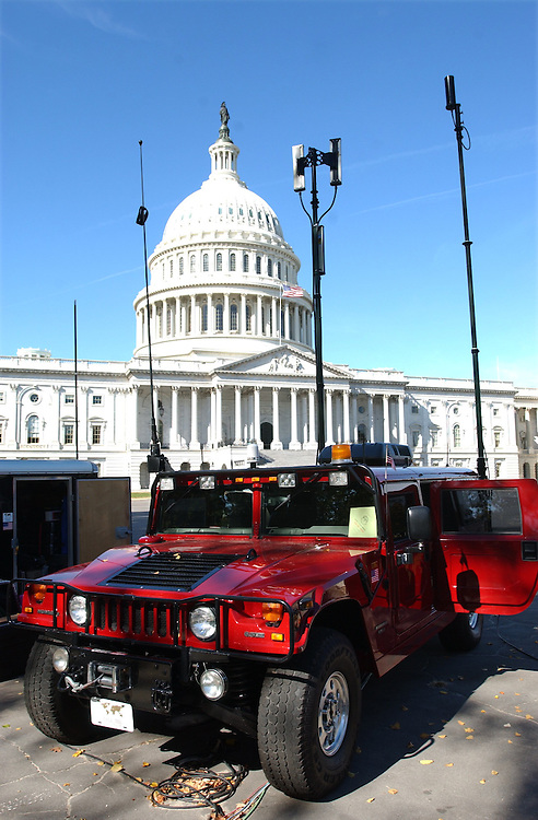 celltel101901 -- A Hummer from Cell-Tel International Inc. stationed on the East Font helps provide communication for the Capitol Building.