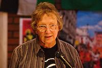 Kathy Sharp speaking at the Memorial Meeting honouring Godfrey Cremer's life, Saklatvala Hall, Southall, 12th May 2012