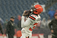 FOXBOROUGH, MA - OCTOBER 27: Cleveland Browns Cornerback Terrance Mitchell #39 warming up before the game during a game between Cleveland Browns and New Enlgand Patriots at Gillettes on October 27, 2019 in Foxborough, Massachusetts.