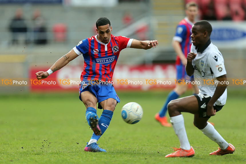 Corey Whitely of Dagenham and Chinua Cole of Eastleigh during Dagenham & Redbridge vs Eastleigh, Vanarama National League Football at the Chigwell Construction Stadium on 1st April 2017