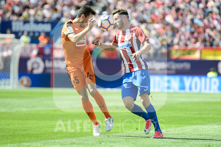 Atletico de Madrid's Sa&uacute;l &Ntilde;&iacute;gez and SD Eibar's Gonzalo Escalante during Liga Liga match between Atletico de Madrid and SD Eibar at Vicente Calderon Stadium in Madrid, May 06, 2017. Spain.<br /> (ALTERPHOTOS/BorjaB.Hojas)