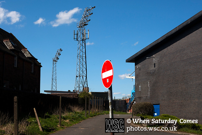 An exterior view of the Terregles Street end of Palmerston Park, Dumfries before Queen of the South hosted Dundee United in a Scottish Championship fixture. The home has played at the same ground since its formation in 1919. Queens won the match 3-0 watched by a crowd of 1,531 spectators.