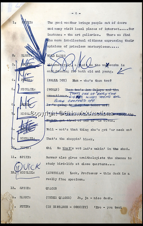 BNPS.co.uk (01202)558833Pic:  ChiswickAuctions/BNPS<br /> <br /> Annotated notes from Spike Milligan on the script for the radio comedy 'Crazy People'.<br /> <br /> Mementos from the career of Spike Milligan including a lost script are being sold by his long-time agent.<br /> <br /> Norma Farnes, 85, worked for the legendary entertainer for four decades and kept hold of several keepsakes, including a script for 'Crazy People', a radio comedy staring Milligan alongside Michael Bentine and Peter Sellers.<br /> <br /> The episode was broadcast in July 1951, with the show going on to a huge hit under a new name 'The Goon Show'.<br /> <br /> No recordings of the episode have survived and it is believed that this the first time a Crazy People script has emerged for auction.