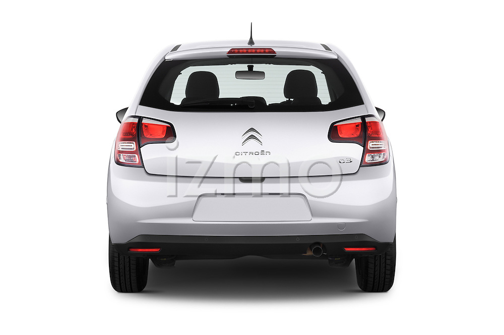 Straight rear view of a 2014 Citroen C3 Seduction 5 Door Hatchback 2WD Rear View  stock images