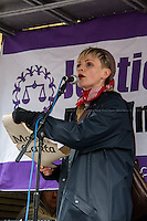 Maxine Peake (English stage, film and television actress).<br /> <br /> London, 23/02/2015. Today, the &quot;Justice Alliance&quot; and their Chris Grayling puppet dresses as King John Lackland arrived in Westminster for the last day of a tree-day march called &quot;Relay For Rights&quot; from Runnymede, birth place of the Magna Carta, to Old Palace Yard, where they held the &quot;Not the Global Law Summit&quot; rally. At the end of the demonstration outside the Houses of Parliament, protesters marched peacefully to the Queen Elizabeth II Centre where the &quot;Global Law Summit&quot; was taking place. From the organisers Facebook page: &lt;&lt; [&hellip;] February 23rd 2015 is the 799th and 8 month anniversary of the signing of the Magna Carta. The Government is using this non-anniversary to host the Global Law Summit, &quot;a unique opportunity to explore what the future holds for global business and the rule of law&quot;. This back-slapping corporate jamboree, partly funded by the Ministry of Justice, comes at a time when the same department has waged a slash-and-burn campaign on advice and representation, leaving people without deep pockets unable to get justice in court. Magna Carta represents the oldest historical commitment to equal access to justice in Britain. We are here to remind the Government of its duty to provide access to justice for all, and not merely to the rich. [&hellip;]&gt;&gt;<br /> <br /> For more information please click here: http://bit.ly/1G6aHZx