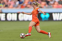 Houston, TX - Saturday June 17, 2017: Kealia Ohai brings the ball up the field during a regular season National Women's Soccer League (NWSL) match between the Houston Dash and the Orlando Pride at BBVA Compass Stadium.