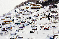Aerial of sled dog teams in Kaltag checkpoint 2006 Iditarod Western Alaska Winter