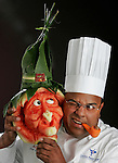 The Halloween witch with Chef Nelson Millán, Chef Garde Manger of the Ocean Reef Club.