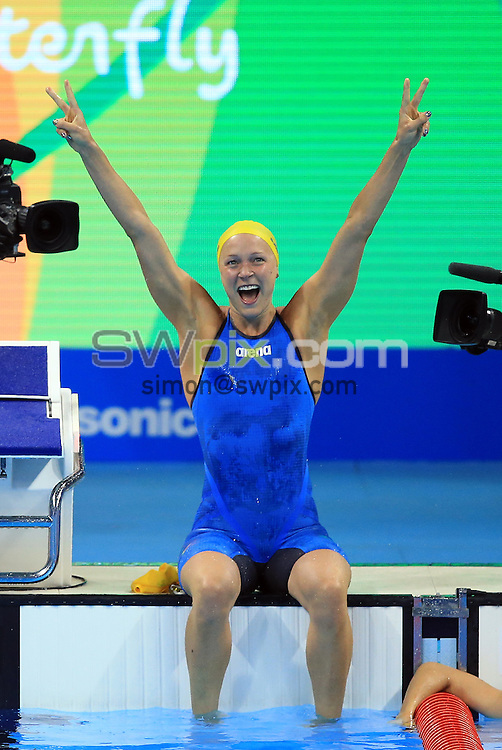 RIO DE JANEIRO, BRAZIL - AUGUST 07:  Sarah Sjostrom of Sweden wins Gold in the Women's 100m Butterfly Final on Day 2 of the Rio 2016 Olympic Games at the Olympic Aquatics Stadium on August 7, 2016 in Rio de Janerio, Brazil.  (Photo by Vaughn Ridley/SWpix.com)