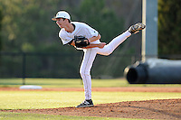Pitcher Bryan Hathaway (29) of the University of South Carolina Upstate Spartans delivers a pitchin a game against the College of Charleston Cougars on Tuesday, March 31, 2015, at Cleveland S. Harley Park in Spartanburg, South Carolina. Charleston won, 10-0. (Tom Priddy/Four Seam Images)