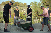 Pictured: Special forensics police officers use sieves to look through soil during the search in a field in Kos, Greece. Tuesday 04 October 2016<br /> Re: Police teams led by South Yorkshire Police, searching for missing toddler Ben Needham on the Greek island of Kos have moved to a new area in the field they are searching.<br /> Ben, from Sheffield, was 21 months old when he disappeared on 24 July 1991 during a family holiday.<br /> Digging has begun at a new site after a fresh line of inquiry suggested he could have been crushed by a digger.