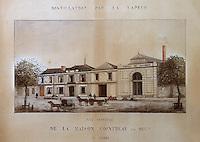 Europe/France/Pays de la Loire/49/Maine-et-Loire/Env d'Angers/ Saint-Barthelemy d'Anjou: Entreprise Cointreau Musee Cointreau aquarelle 1880 représentant la maison Cointreau