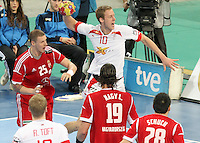 12.01.2013 Barcelona, Spain. IHF men's world championship, Quarter-Final. Picture show Nikolaj Markussen   in action during game between Denmark vs Hungary at Palau ST Jordi