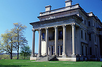 mansion, Hyde Park, Vanderbilt Mansion National Historic Site, New York, Vanderbilt Mansion an Italian Renaissance-style palace in Hyde Park, New York in the spring.