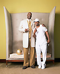 Shaquille O'Neal and Jamie Foxx in the lobby of the Delano Hotel on Miami Beach.