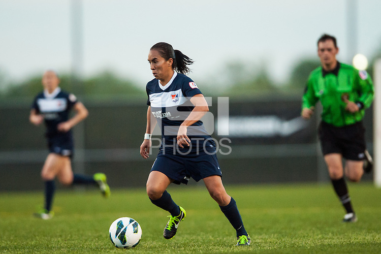 Sky Blue FC forward Monica Ocampo (8). Sky Blue FC and the Chicago Red Stars played to a 1-1 tie during a National Women's Soccer League (NWSL) match at Yurcak Field in Piscataway, NJ, on May 8, 2013.