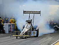 Jul 9, 2016; Joliet, IL, USA; NHRA top fuel driver Tony Schumacher during qualifying for the Route 66 Nationals at Route 66 Raceway. Mandatory Credit: Mark J. Rebilas-USA TODAY Sports