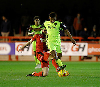 Crawley Town's Joe McNerney tackles Exeter City's Ollie Watkins during the Sky Bet League 2 match between Crawley Town and Exeter City at Broadfield Stadium, Crawley, England on 28 February 2017. Photo by Carlton Myrie / PRiME Media Images.