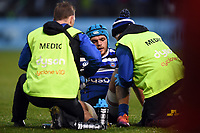 Zach Mercer of Bath Rugby is treated for an injury. Gallagher Premiership match, between Bath Rugby and Sale Sharks on December 2, 2018 at the Recreation Ground in Bath, England. Photo by: Patrick Khachfe / Onside Images