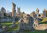 Abbey monastic ruins and cathedral grounds, Bury St Edmunds, Suffolk, England, UK