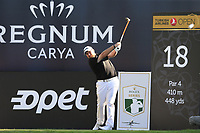 Shane Lowry (IRL) tees off the 18th tee during Friday's Round 2 of the 2018 Turkish Airlines Open hosted by Regnum Carya Golf &amp; Spa Resort, Antalya, Turkey. 2nd November 2018.<br /> Picture: Eoin Clarke | Golffile<br /> <br /> <br /> All photos usage must carry mandatory copyright credit (&copy; Golffile | Eoin Clarke)