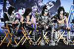 HOLLYWOOD, CA - MARCH 20: Tommy Thayer, Gene Simmons, Eric Singer, Paul Stanley of KISS  attend the 'Kiss, Motley Crue: The Tour' Press Conference at Hollywood Roosevelt Hotel on March 20, 2012 in Hollywood, California.