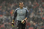 Derby's Roy Carroll watches as a snow blizzard hits the Riverside Stadium. during the Premier League match at the Riverside Stadium, Middlesbrough. Picture date 8th March 2008. Picture credit should read: Richard Lee/Sportimage