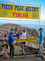 August 19, 2017 - Colorado Springs, Colorado, U.S. -  Colorado Springs runner, Joseph Gray, crosses the finish line in a time of 2:08:19 to win the 62nd running of the Pikes Peak Ascent.  The Ascent is a full half-marathon gaining over 7800 feet in elevation to reach the summit at 14,115 feet.  Mountain runners from around the world converge on Pikes Peak for two days of racing on America's Mountain in Colorado Springs, Colorado.