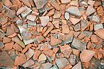 Broken red roofing pan tiles