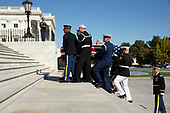 The casket of late United States Representative Elijah Cummings (Democrat of Maryland) is carried up the East Front steps by a US honor guard at the US Capitol in Washington, DC, USA, 24 October 2019. Cummings will lie in state in the National Statuary Hall of the US Capitol for a public viewing. Cummings, whose death at 68 was announced 17 October, was Chairman of the US House Committee on Oversight and Reform. The committee is one of the congressional committees conducting an impeachment investigation into US President Donald J. Trump.<br /> Credit: Michael Reynolds / Pool via CNP