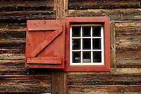 Window in one of the 2 original fort buildings, built in 1850.  This is one of the oldest standing buildings in the state of Washington. Fort Nisqually Living History Museum, Point Defiance Park, Tacoma, Washington, USA