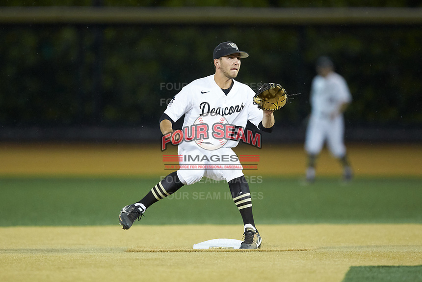 Wake Forest Demon Deacons second baseman Michael Turconi (6) waits for a throw at second base during the game against the Davidson Wildcats at David F. Couch Ballpark on May 7, 2019 in  Winston-Salem, North Carolina. The Demon Deacons defeated the Wildcats 11-8. (Brian Westerholt/Four Seam Images)