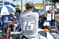 9-10 July, 2016 Newton, Iowa USA<br /> Graham Rahal (#15) prepares for practice.<br /> &copy;2016, F. Peirce Williams