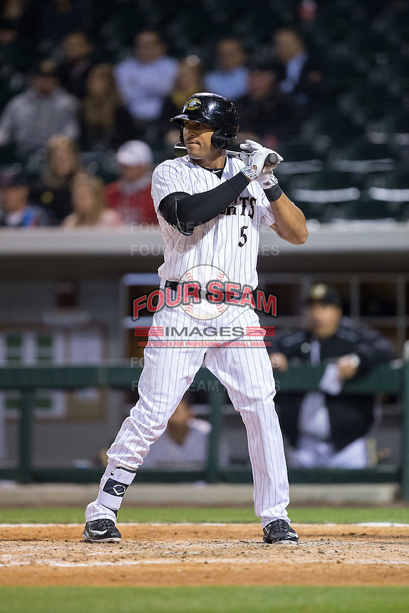 Daniel Fields (5) of the Charlotte Knights at bat against the Durham Bulls at BB&T BallPark on April 14, 2016 in Charlotte, North Carolina.  The Bulls defeated the Knights 2-0.  (Brian Westerholt/Four Seam Images)