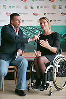09-01-14, Netherlands, Rotterdam, TC Kralingen, ABNAMROWTT Press-conference,Tournament director wheelchair tennis Ester Vergeer with speaker Edward van Cuilenborg.<br />